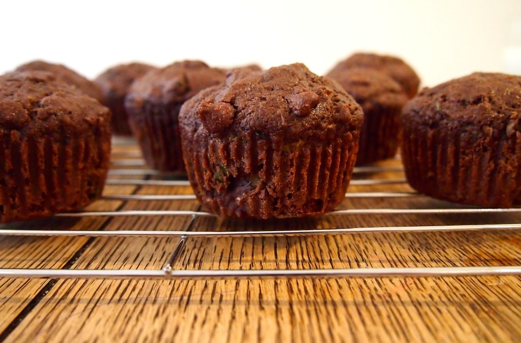 Gluten-Free, Nut-Free, Egg-Free Fudgey Chocolate Zucchini Muffins
